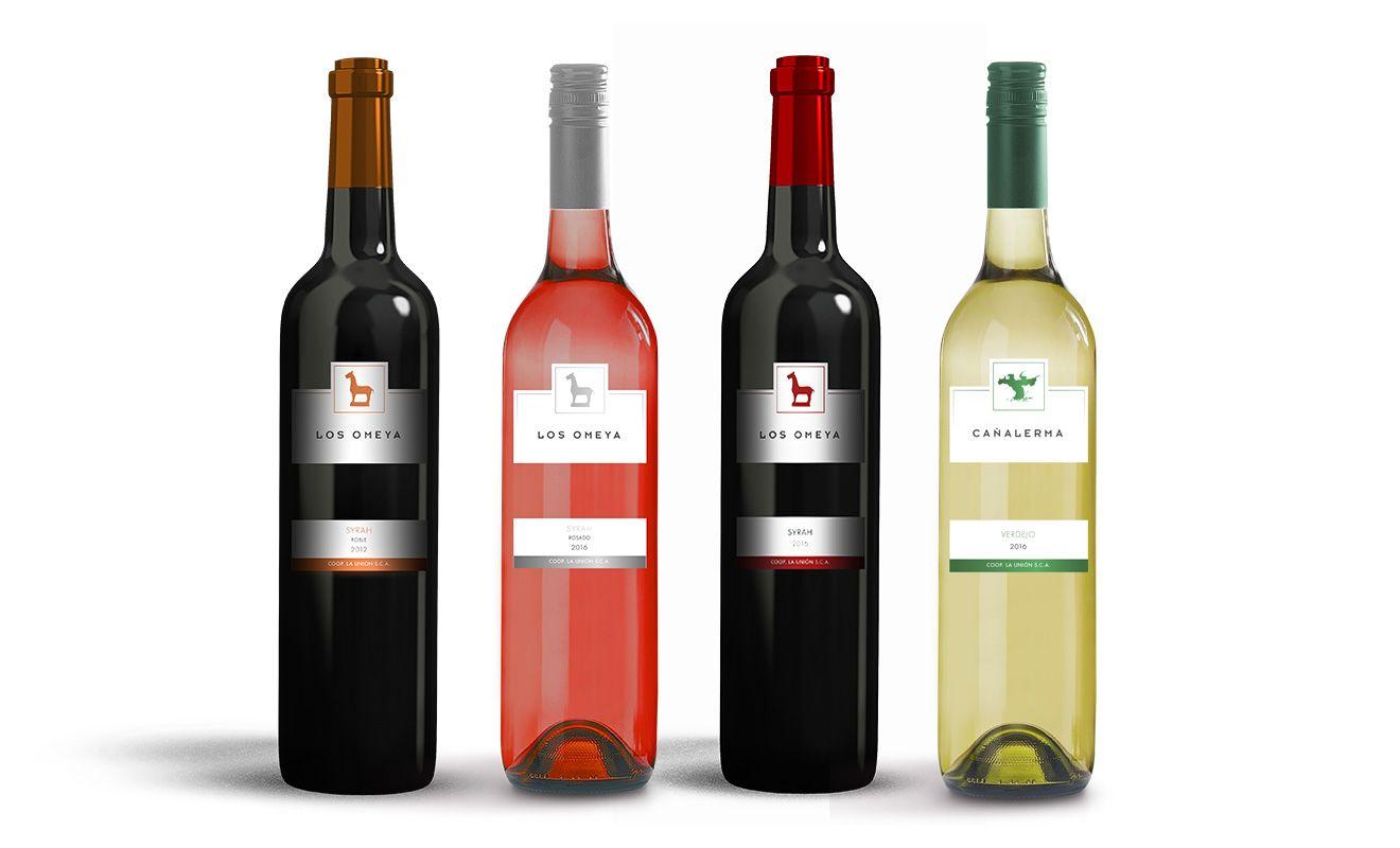 Diseño de botellas de vino Los Omeya